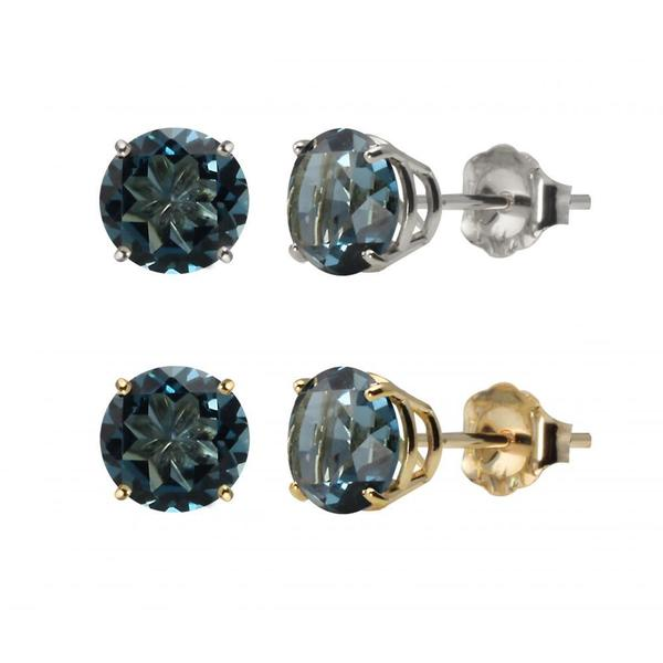 10k White Gold or Yellow Gold 8mm Round London Blue Topaz Stud Earrings
