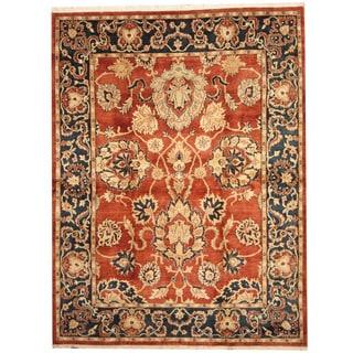 Herat Oriental Indo Hand-knotted Khorasan Rust/ Navy Wool Rug (8' x 10')