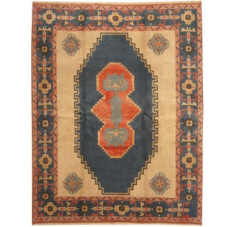 Herat Oriental Turkish Hand-knotted Anatolia Blue/ Ivory Wool Rug (7'10 x 9'10)