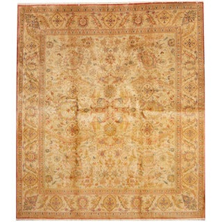 Herat Oriental Indo Hand-knotted Kashan Ivory/ Gold Wool Rug (8'1 x 9'2)