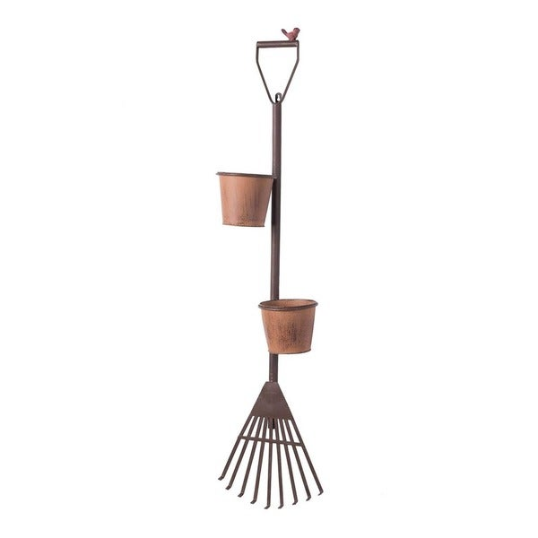 Sunjoy Vintage Shovel and Rake Wall Mount Plant Holder Set
