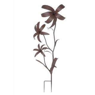 Sunjoy Giant Flower Garden Stake, Metal with rust Finish