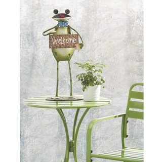 Sunjoy Friendly Frog Welcome Sign Hand-painted Metal Garden Sculpture