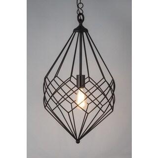 Small Black Metal Wire 1-light Pendant