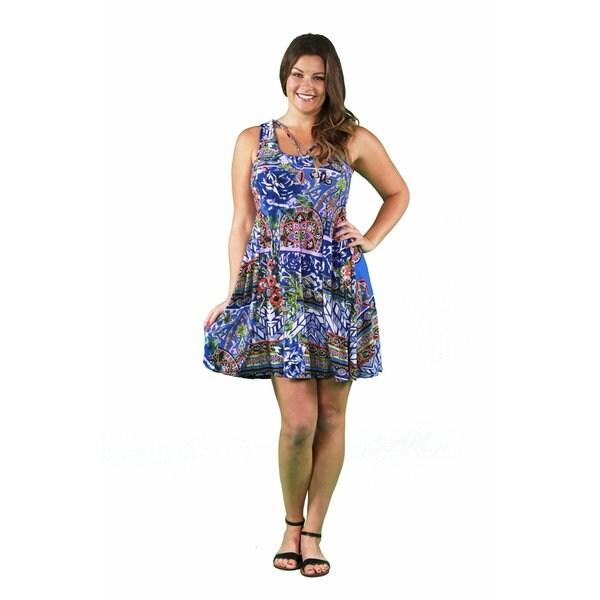 24/7 Comfort Apparel Women's Plus Size Lilac Tile Abstract Neckline Dress