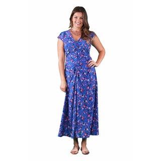 24/7 Comfort Apparel Women's Plus Size Blue-Pink Rose Maxi Dress