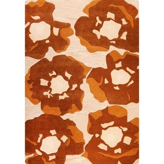 M.A.Trading Hand-Tufted Indo Poppy Brown Rug (5'6 x 7'10)