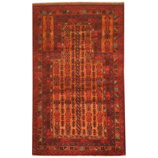 Herat Oriental Afghan Hand-knotted 1980s Semi-antique Tribal Balouchi Rust/ Navy Wool Rug (2'10 x 4'10)