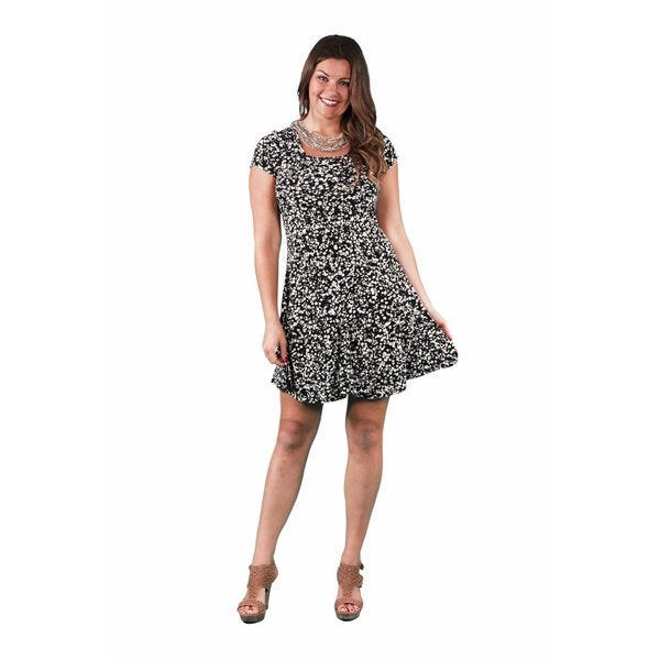 24/7 Comfort Apparel Women's Plus Size Cream&Black Spot Printed A-line Dress