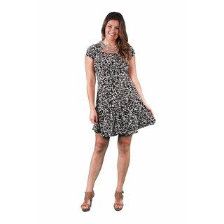 24/7 Comfort Apparel Women's Plus Size Cream&Black Spot Printed A-line Dress