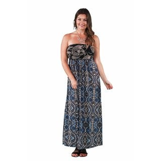 24/7 Comfort Apparel Women's Plus Size Abstract Paisley Tube Maxi