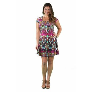 24/7 Comfort Apparel Women's Plus Size Bright Bohemian A-line Dress
