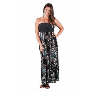 24/7 Comfort Apparel Women's Plus Size Abstract Polka-Dot Tube Maxi
