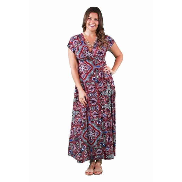 24/7 Comfort Apparel Women's Plus Size Jagged Paisley Printed Maxi 17879656