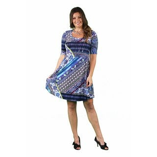 24/7 Comfort Apparel Women's Plus Size Floral Mosaic Printed Dress