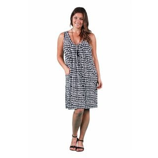 24/7 Comfort Apparel Women's Plus Size Houndstooth Tank Dress