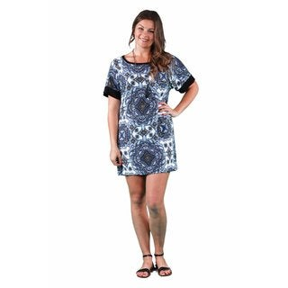 24/7 Comfort Apparel Women's Plus Size Blue Mandala Printed Dolman Dress