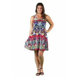 24/7 Comfort Apparel Women's Plus Size RBG Paisley Printed Tank Dress