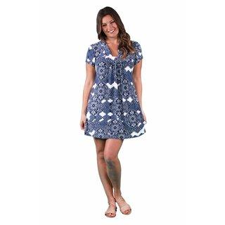 24/7 Comfort Apparel Women's Plus Size Blue Chateau Printed Classic Dress