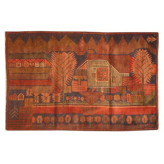 Herat Oriental Afghan Hand-knotted 1960s Semi-antique Tribal Balouchi Navy/ Red Wool Rug (3'1 x 4'9)