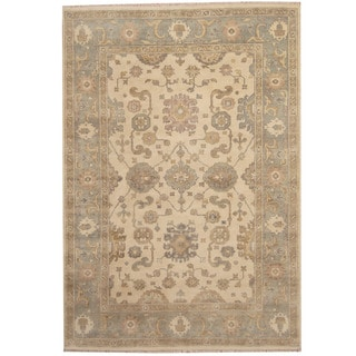 Herat Oriental Indo Hand-knotted Oushak Ivory/ Light Blue Wool Rug (6' x 9')