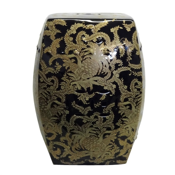 Gold Tropical Square Porcelain Garden Stool