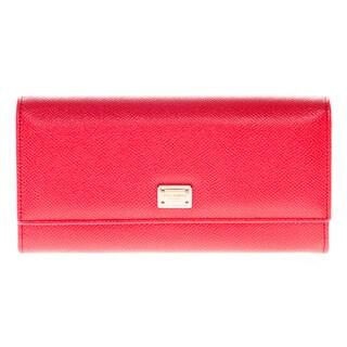 Dolce & Gabbana Dauphine Bright Pink Calfskin Flap Wallet