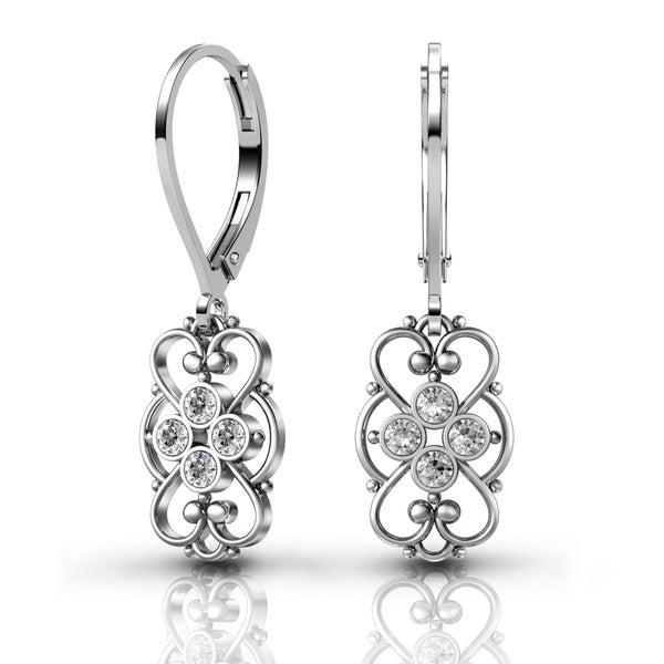 Lucia Costin Sterling Silver Clear Crystal Earrings with Cute Details 17880444