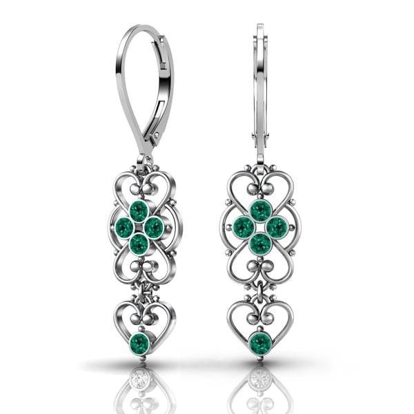 Lucia Costin .925 Sterling Silver Green Crystal Earrings 17880632
