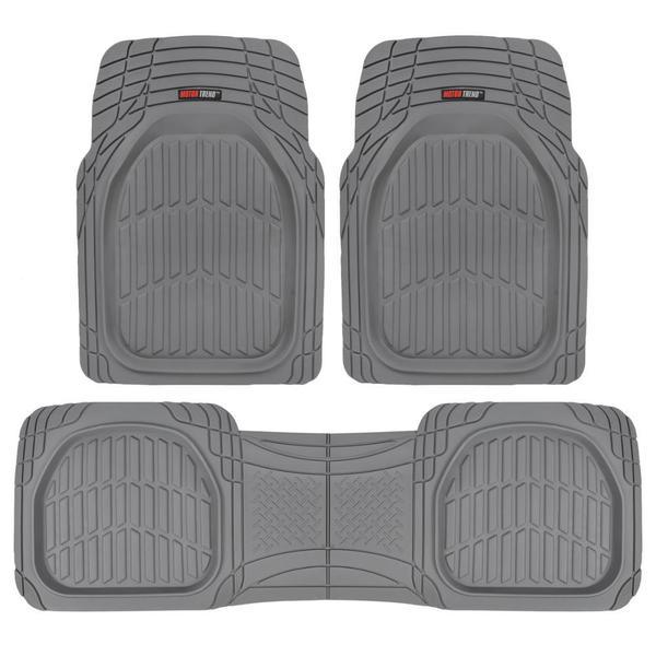 Heavy Duty Deep Dish Rubber Floor Mats in Grey