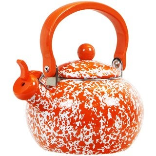 Reston Lloyd Calypso Basics Orange 2-quart Marble Whistling Teakettle