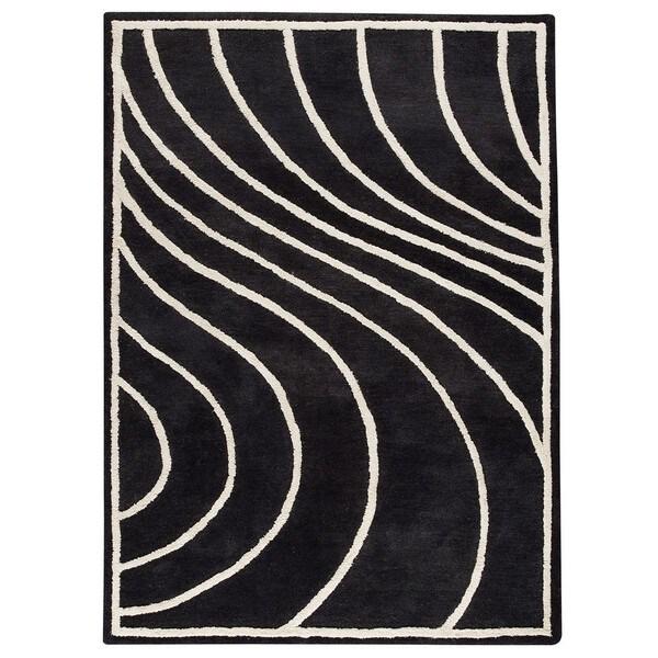 Hand-Tufted Indo Lake Placid Charcoal Rug (5'6 x 7'10)
