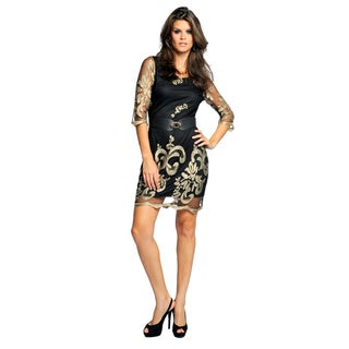 Sara Boo Golden Embroidery Dress with Sheer Sleeve
