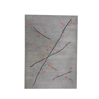 Hand-Tufted Indo Inari Grey Orange Rug (6'6 x 9'9)