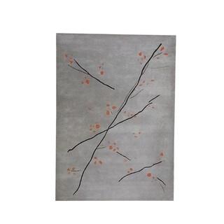 Hand-Tufted Indo Inari Grey/ Orange Rug (9'x12')