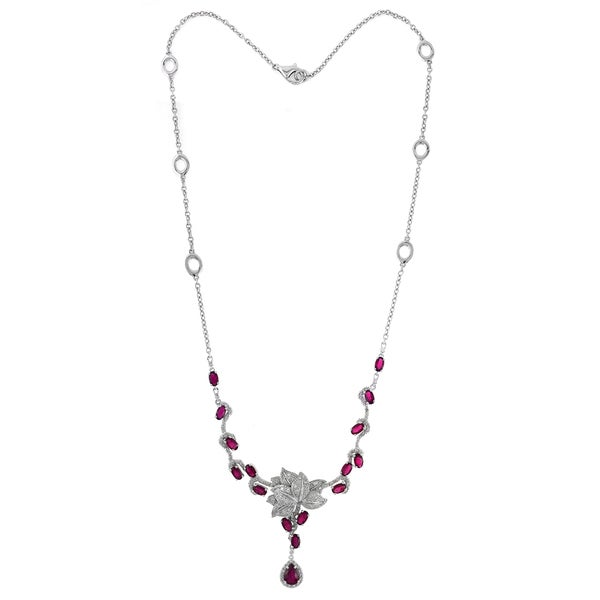 14k White Gold 1/2ct TDW Diamond and Ruby Necklace (I-J, SI1-SI2)