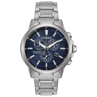 Citizen Men's AT2340-56L TI + IP Blue Dial Silvertone Titanium Watch