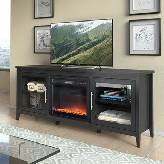 Jackson Black Wood Grain TV Stand and Fireplace (80-inches)