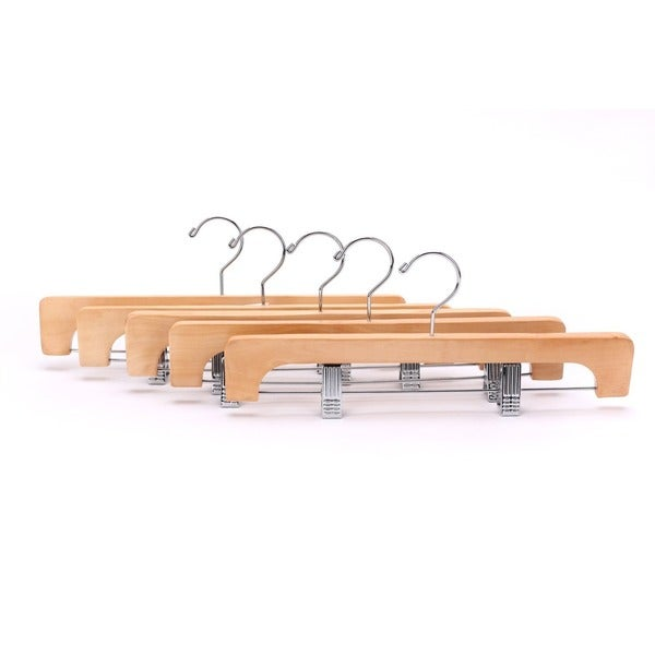 J.S. Hanger Deluxe Wooden Pants Hangers with 2 Adjustable Chrome Clips (Pack of 10)
