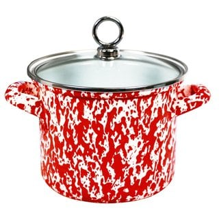 Reston Lloyd Calypso Basics Red 1.5-quart Marble Stock Pot with Glass Lid