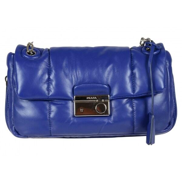 Prada B5023L Blue Bomber Effect Shoulder Bag