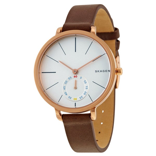 Skagen Women's Brown Leather Hagen White Dial Watch