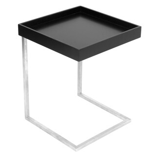 Zenn Contemporary Black and Stainless Steel Tray Table