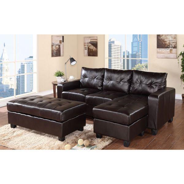 Aspen reversible espresso bonded leather chaise sectional for Bonded leather chaise