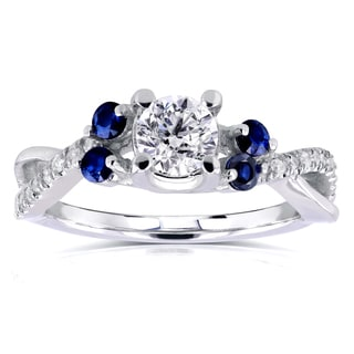 Annello 14k White Gold 4/5ct TCW Diamond and Blue Sapphire 5 Stone Ring (H-I, I1-I2)