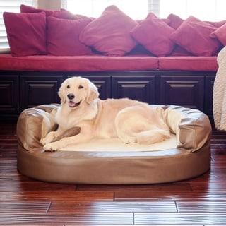 Integrity Bedding Luxury Orthopedic Memory Foam Leatherette Bolster Dog Pet Bed