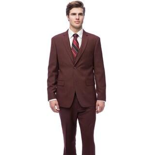 Caravelli Men's Burgundy Slim Fit Vested Suit
