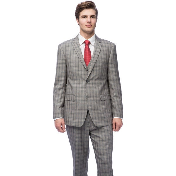 Caravelli Men's Mid-grey Slim-fit Windowpane Vested Suit