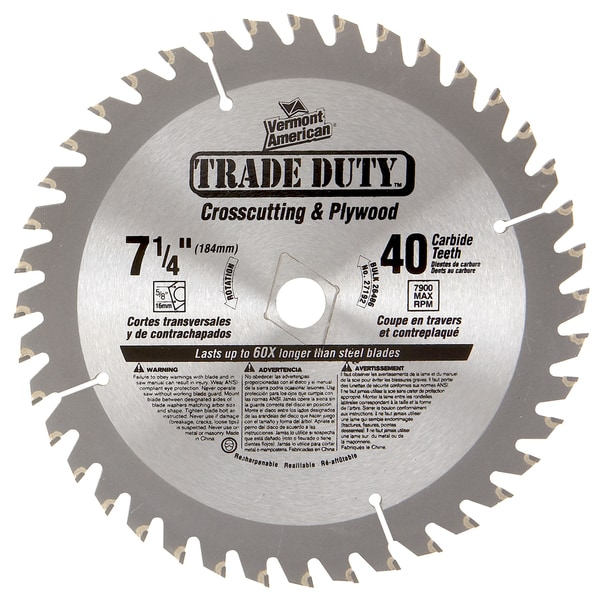 "Vermont American 26486 7-1/4"" 40 TPI Trade Duty Carbide Tipped Circular Saw Blade"