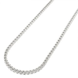 .925 Solid Sterling Silver 2.5MM Franco Square Box Link Rhodium Necklace Chain, Silver Chain for Men & Women, Made in Italy